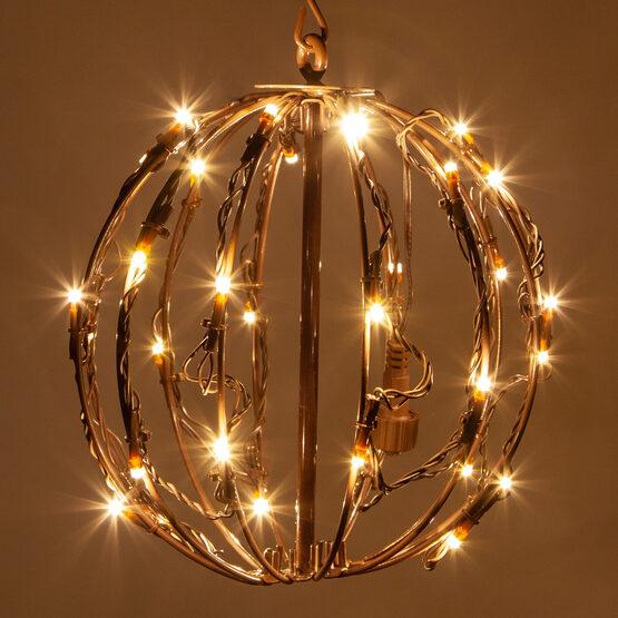 "8"" Light Ball, Fold Flat Brown Frame, Warm White LED"