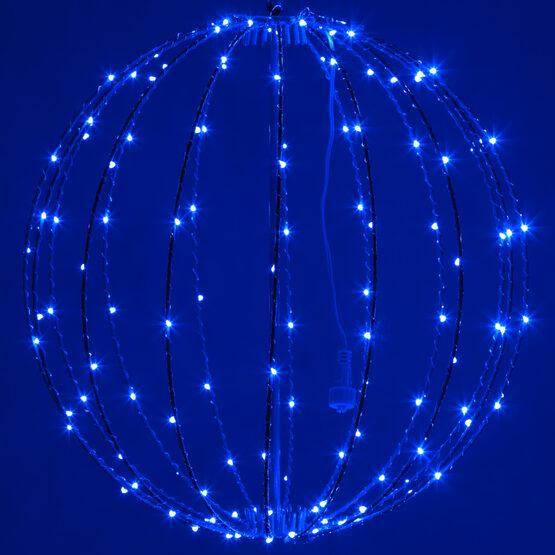 "16"" Fairy Light Ball, Fold Flat Blue Frame, Blue LED"