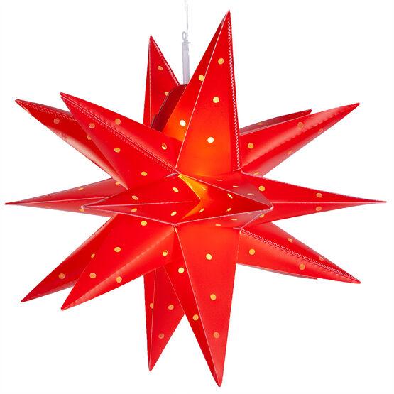 "17"" Red Aurora Superstar TM Folding Star Lantern, Fold-Flat, LED Lights"