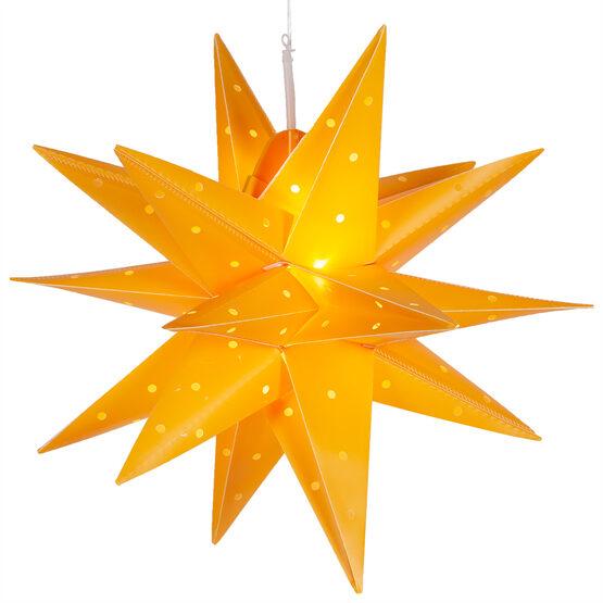 "17"" Yellow Aurora Superstar TM Folding Star Lantern, Fold-Flat, LED Lights"