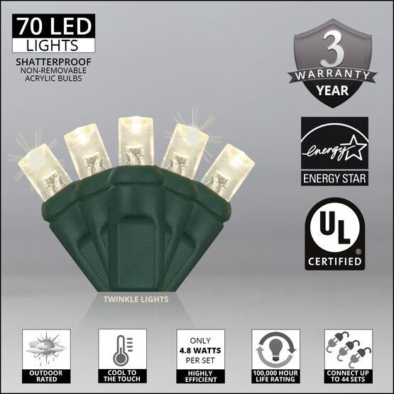 Wide Angle LED Mini Lights, Warm White Twinkle, Green Wire