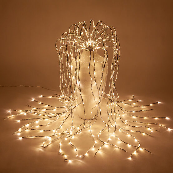 Silver Falling Willow LED Lighted Branches, Warm White Twinkle Lights, 1 pc