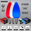Outdoor Patio String Light Set, Red, White and Blue C9 OptiCore TM Opaque LED Bulbs, White Wire
