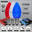 "OptiCore C7 LED Walkway Lights, Red / White / Blue, 4.5"" Stakes, 75'"