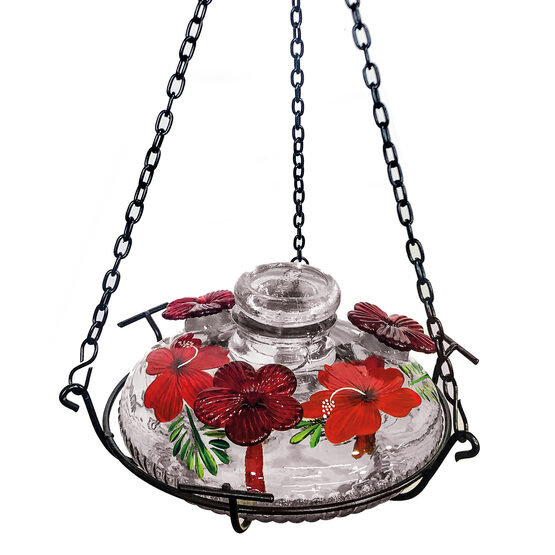 Tropical Bloom Glass Hummingbird Feeder