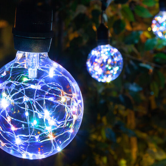 Commercial Patio String Lights, RGB Color Change G95 LEDimagine TM Fairy Light Bulbs, Suspended, Black Wire