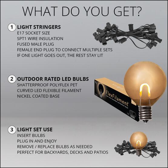 10' Patio String Light Set, 10 Warm White G50 FlexFilament LED Shatterproof Bulbs, Black Wire