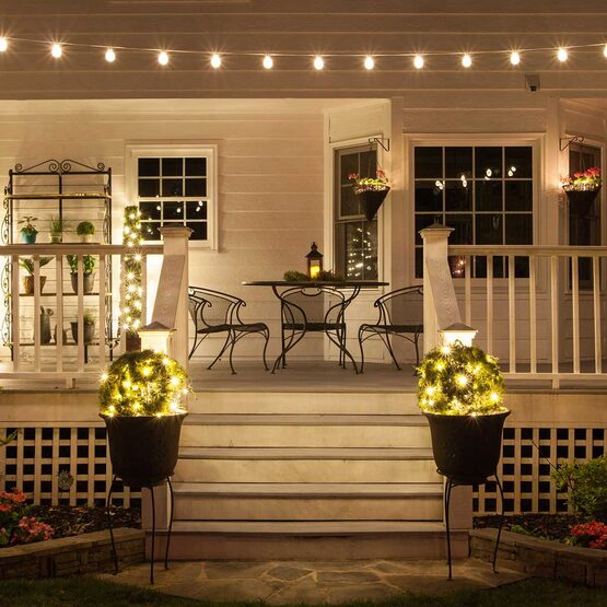 50' Patio String Light Set, 50 Warm White G50 FlexFilament LED Shatterproof Bulbs, White Wire
