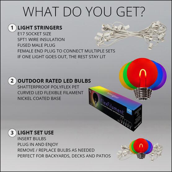Globe String Light Set, Multicolor G50 FlexFilament TM Shatterproof LED Bulbs, White Wire