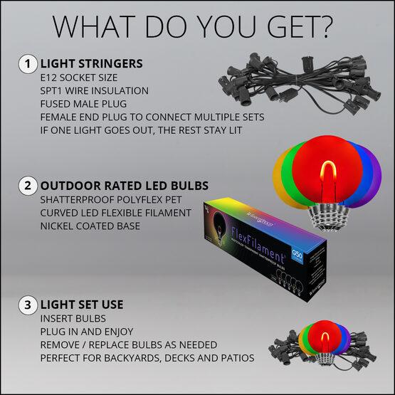 10' Patio String Light Set, 10 Multicolor G50 FlexFilament LED Shatterproof Bulbs, Black Wire