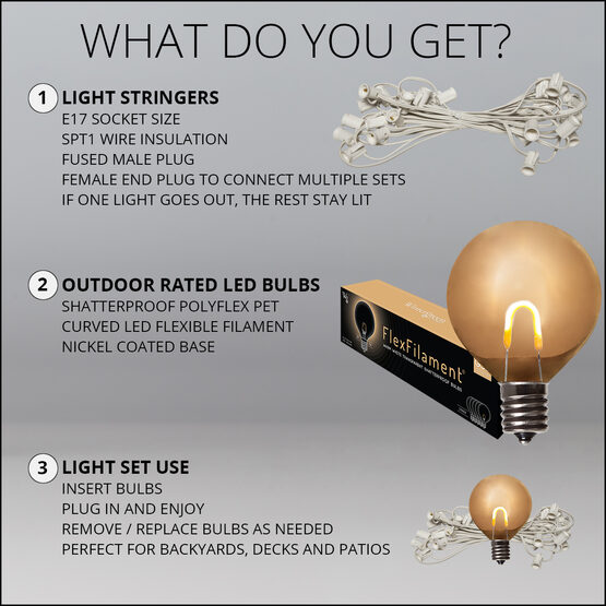 10' Patio String Light Set, 10 Warm White G50 FlexFilament LED Shatterproof Bulbs, White Wire