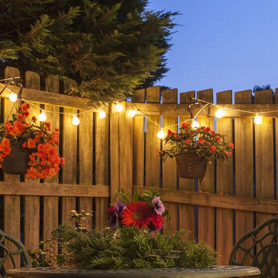 Globe String Light Set, Warm White G50 FlexFilament TM Shatterproof LED Bulbs, White Wire