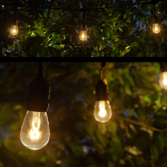 Commercial Patio String Lights, Warm White S14 FlexFilament TM LED Shatterproof Bulbs, Suspended, Black Wire