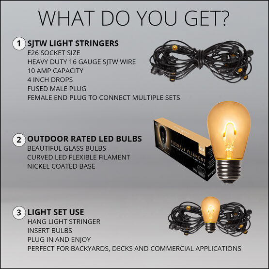 30' Commercial Patio String Light Set, 10 Warm White S14 FlexFilament LED Glass Bulbs, Suspended, Black Wire