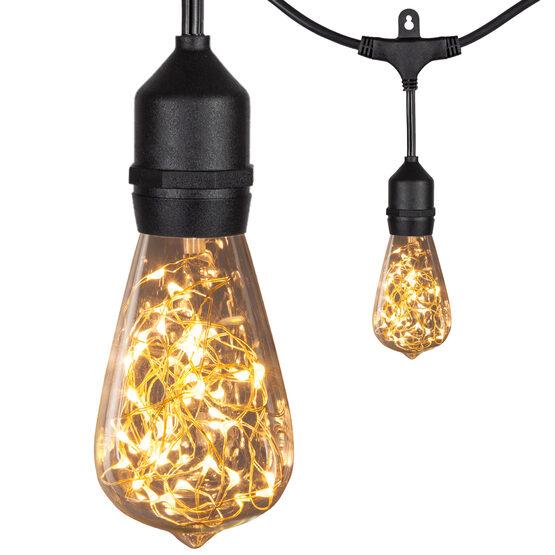 30' Commercial Patio String Light Set, 10 Warm White ST64 LEDimagine TM Fairy Light Bulbs, Suspended, Black Wire