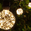 Commercial Patio String Lights, Warm White G95 LEDimagine TM Fairy Light Bulbs, Suspended, Black Wire
