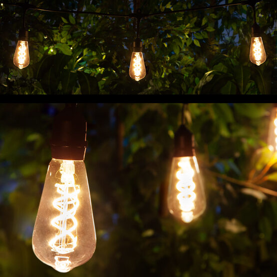 Commercial Patio String Lights, Warm White ST64 FlexFilament TM LED Glass Bulbs, Suspended, Black Wire