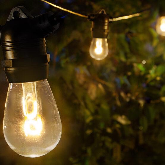 30' Commercial Patio String Light Set, 10 Warm White S14 FlexFilament LED Glass Bulbs, Black Wire