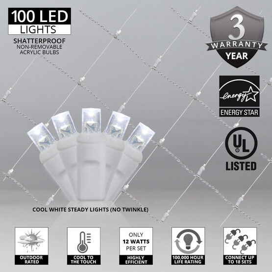 4' x 6' 5mm LED Net Lights, Cool White, White Wire