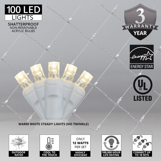 4' x 6' 5mm LED Net Lights, Warm White, White Wire