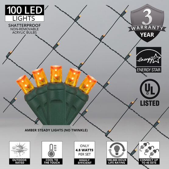 4' x 6' 5mm LED Net Lights, Amber, Green Wire