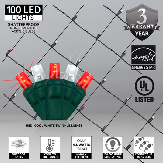 4' x 6' 5mm LED Net Lights, Red, Cool White Twinkle, Green Wire