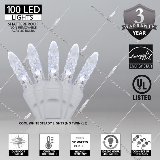 4' x 6' M5 LED Net Lights, Cool White, White Wire