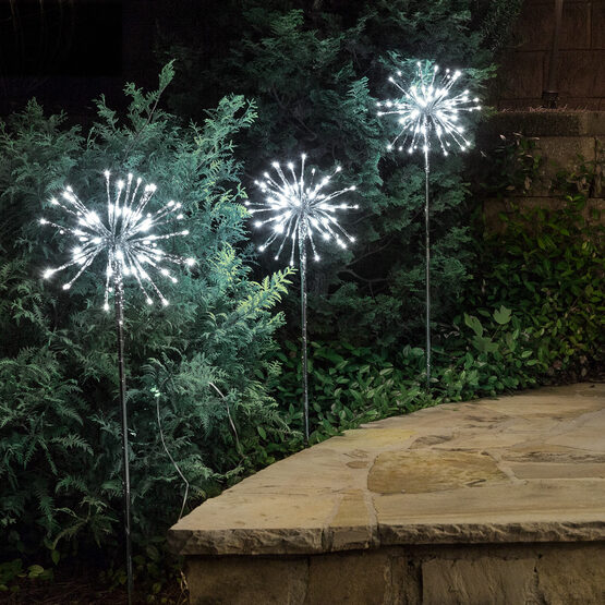 "10"" Silver Starburst LED Lighted Branches, Cool White Lights, 3 pc"