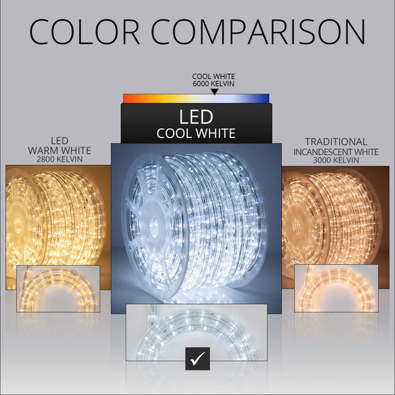 """150' Cool White LED Rope Light, 120 Volt, 1/2"""""""