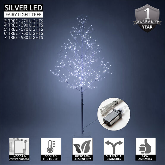 3' Silver Fairy Light Tree, Cool White LED Lights