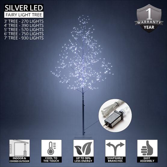 4' Silver Fairy Light Tree, Cool White LED Lights