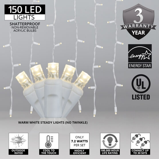 "LED Curtain Lights, 66"" - 72"" Drops, Warm White 5mm Lights, White Wire"