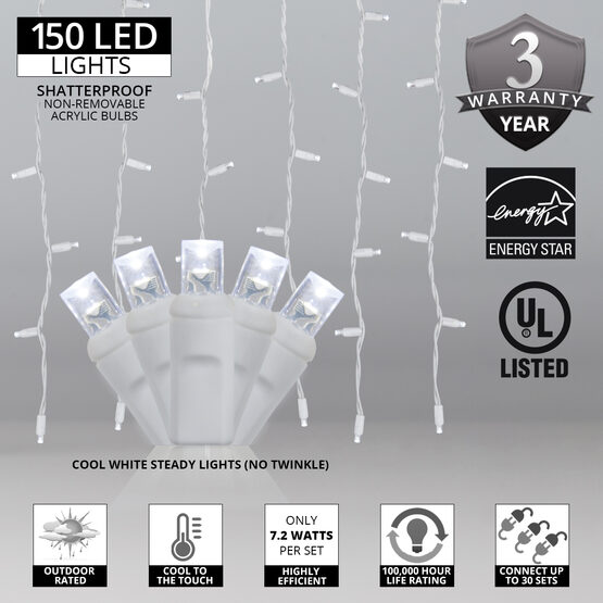 "LED Curtain Lights, 66"" - 72"" Drops, Cool White 5mm Lights, White Wire"