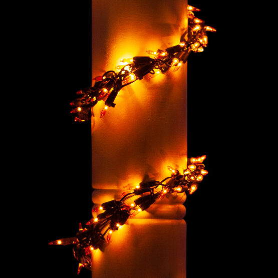 9' Halloween Garland Lights, 300 Amber Lamps, Black Wire