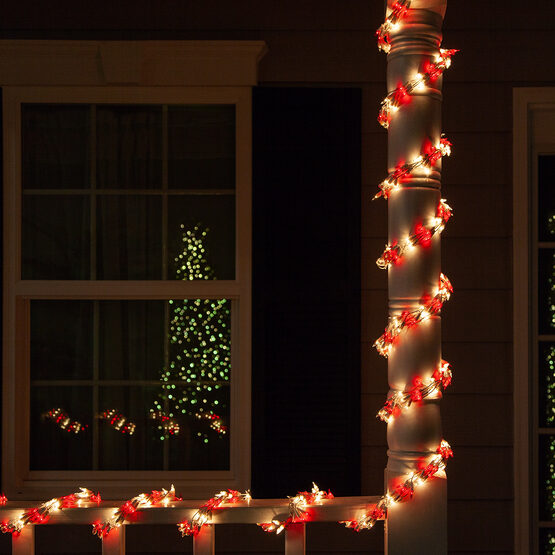 18' Garland Lights, 600 Red/Clear Lights, White Wire