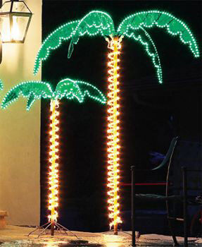 Deluxe Rope Light Lighted Palm Tree with Green Canopy
