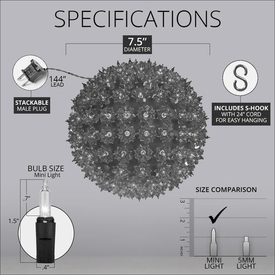 "7.5"" Light Sphere, 100 Clear Lights"