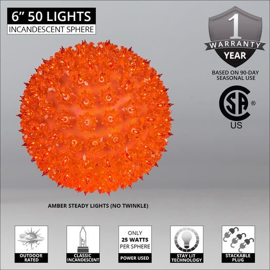 "6"" Light Sphere, 50 Amber Lights"