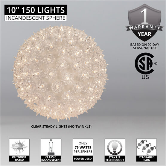 "10"" Light Sphere, 150 Clear Lights"