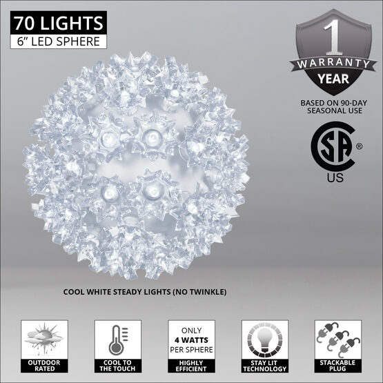 "6"" Light Sphere, 70 Cool White LED Lights"