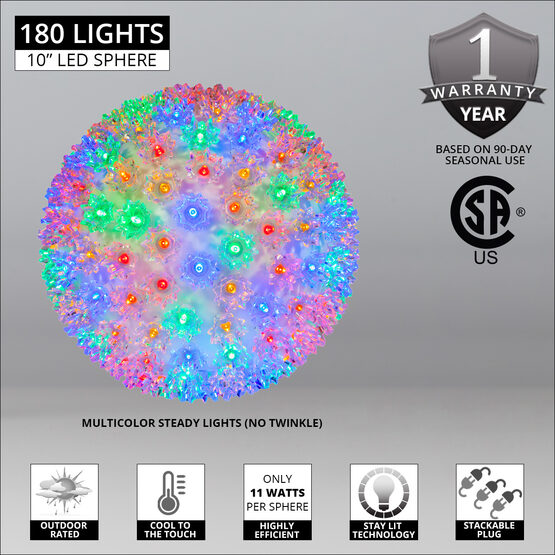 "10"" Light Sphere, 180 Multicolor LED Lights"