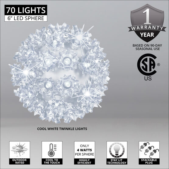 "6"" Light Sphere, 70 Twinkle Cool White LED Lights"