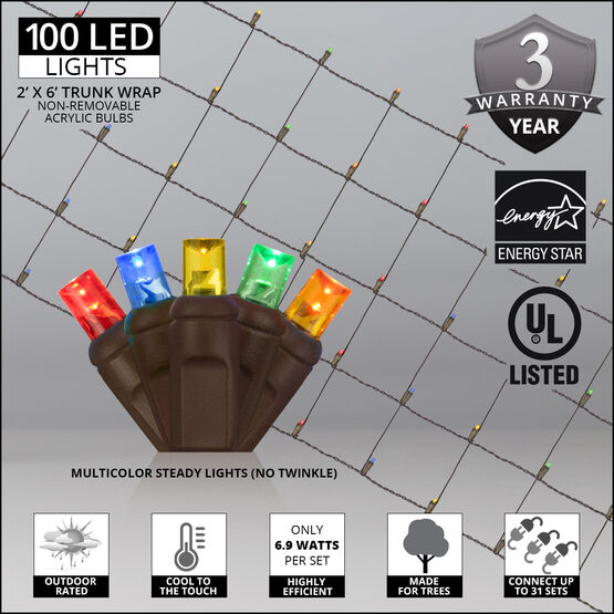 LED Trunk Wrap Lights, 2' x 6', Multicolor, Brown Wire