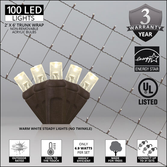 LED Trunk Wrap Lights, 2' x 6', Warm White, Brown Wire