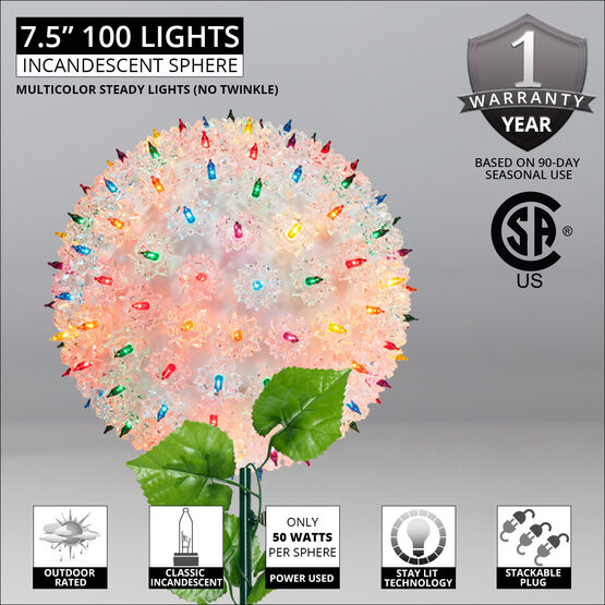 "7.5"" Light Sphere Stake, Multicolor"