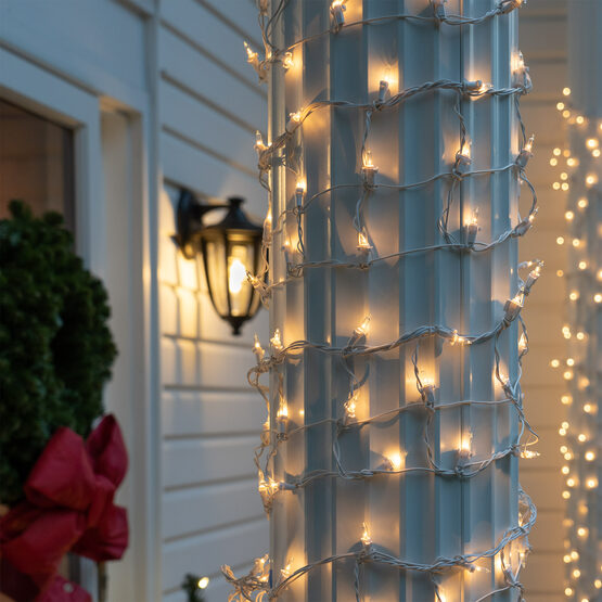 """Column Wrap Lights, 6"""" x 15', Clear, White Wire"""
