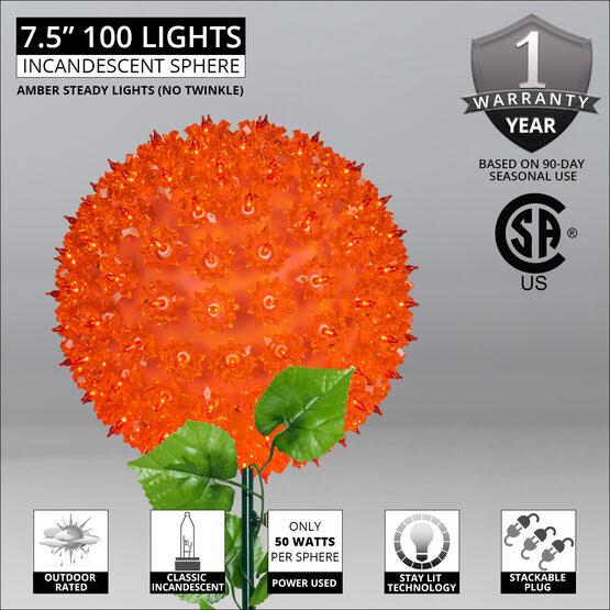 """7.5"""" Light Sphere Stake, Amber"""