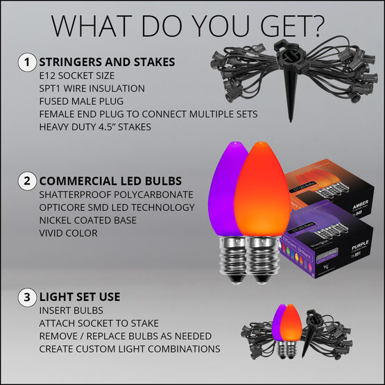 "Smooth OptiCore TM C7 LED Walkway Lights, Orange / Purple, 4.5"" Stakes, 50'"