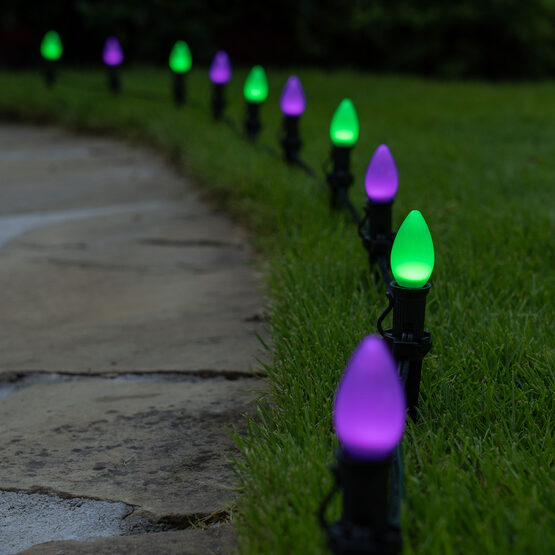 "Smooth OptiCore C7 LED Walkway Lights, Green / Purple, 4.5"" Stakes, 50'"