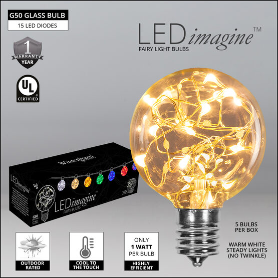 """LEDimagine TM G50 Fairy Light Bulb Walkway Lights, Warm White, 7.5"""" Stakes, 25'"""